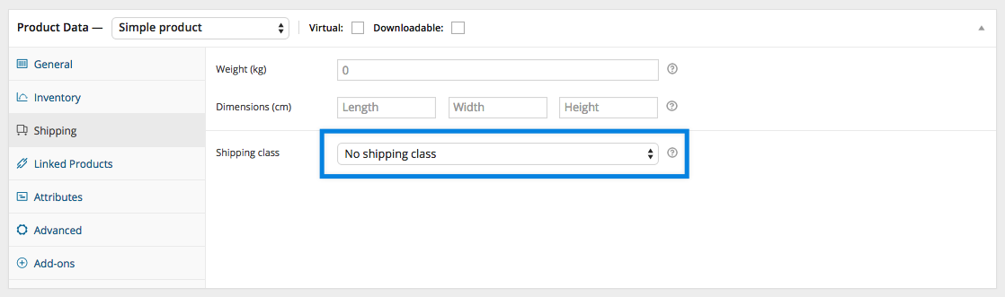 WooCommerce Shipping Classes - Product Shipping Class