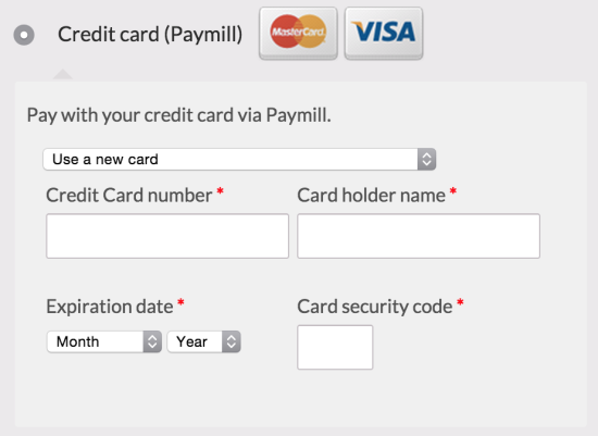 WooCommerce Paymill checkout fields