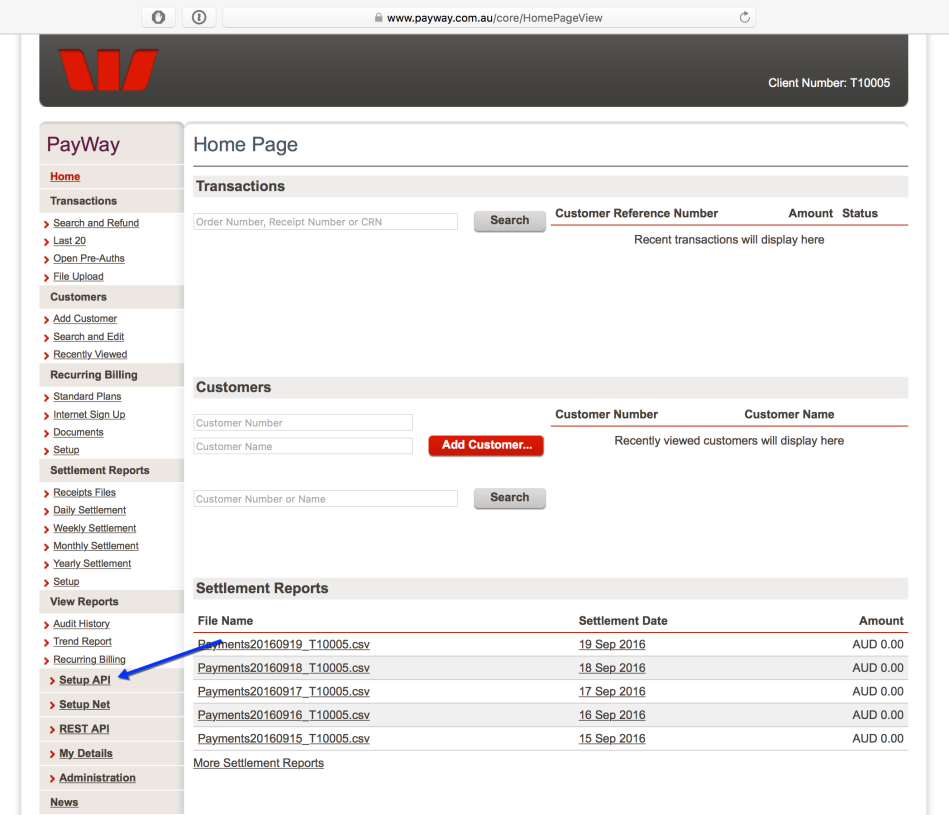 Westpac API dashboard