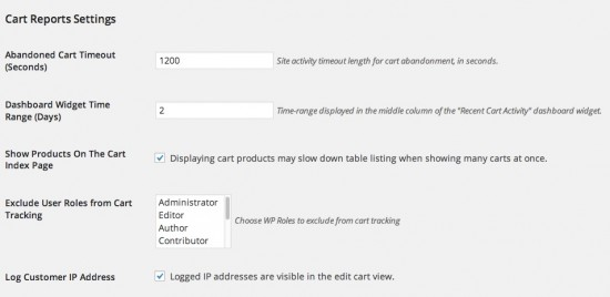 WooCommerce Cart Reports Settings