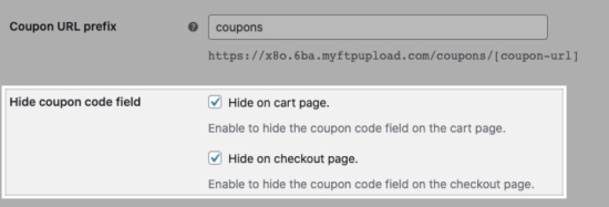 Hide coupon code field settings