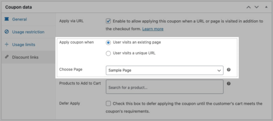 Import URL apply coupon and choose page settings