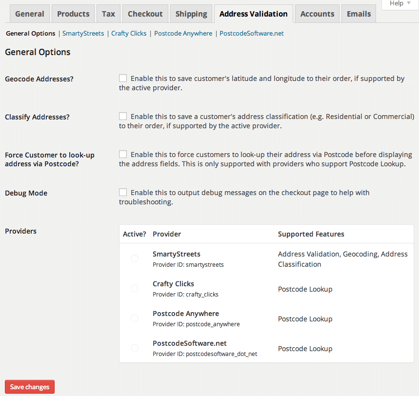 WooThemes Postcode/Address Validation - Shipping methods ...