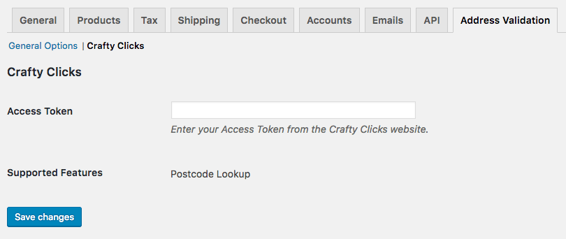 WooCommerce Address Validation: Crafty Clicks Settings