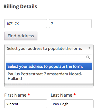 WooCommerce address validation NL postcode lookup