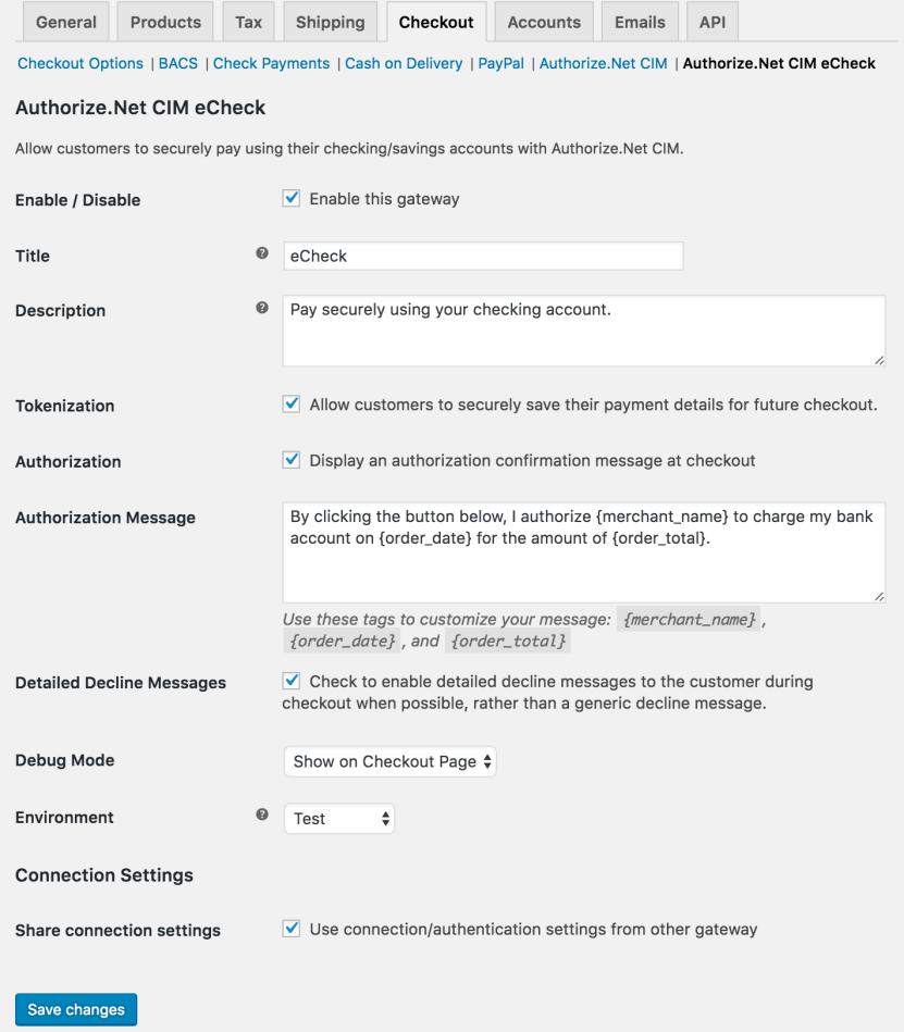 WooCommerce Authorize.Net CIM eCheck settings
