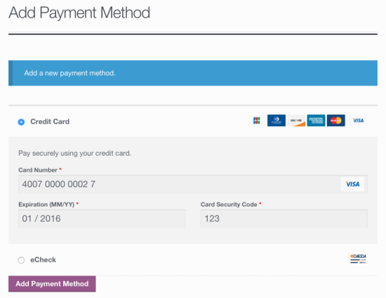 WooCommerce Authorize.Net CIM: Add payment
