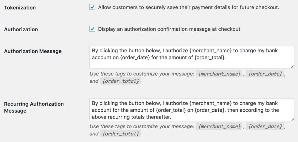 WooCommerce Authorize.Net CIM Recurring authorization message setting