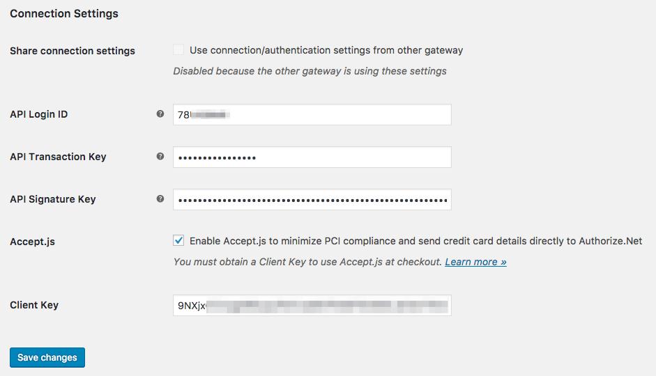 WooCommerce Authorize.Net CIM connection settings