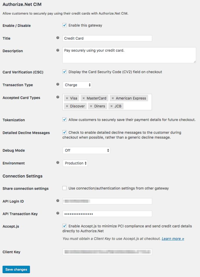 WooCommerce Authorize.Net CIM credit card settings