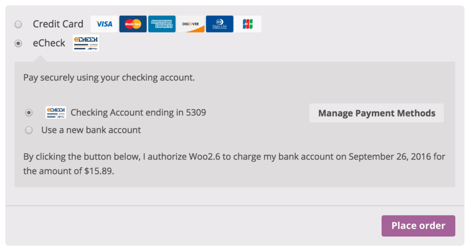 WooCommerce Authorize.Net CIM authorization message for echecks