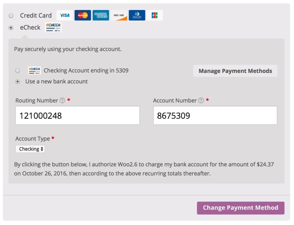 WooCommerce Authorize.Net CIM Recurring eCheck authorization message