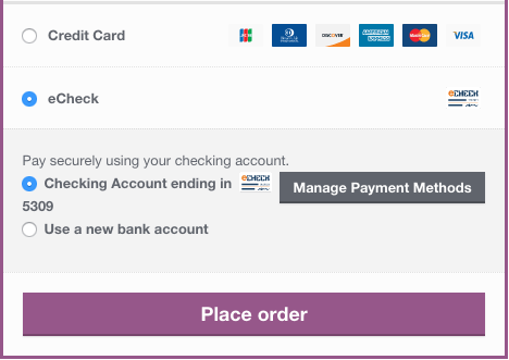 WooCommerce Authorize.Net echeck checkout