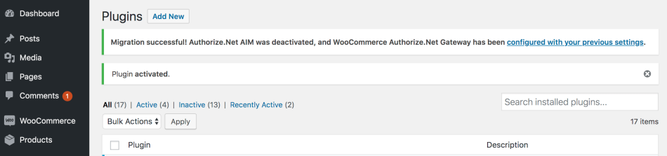 WooCommerce Authorize.Net migration complete