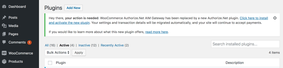 WooCommerce Authorize.Net migration needed - connected