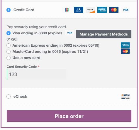 WooCommerce Authorize.Net saved card checkout