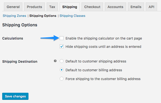 WooCommerce Shipwire: disable cart calculator