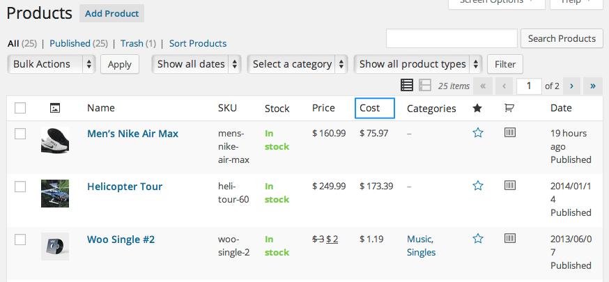 cost of goods woocommerce