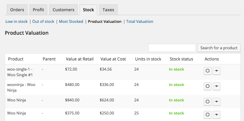 WooCommerce Cost of Goods Product valuation