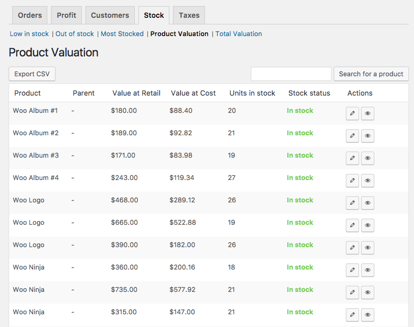 WooCommerce Cost of Goods Product Valuation report