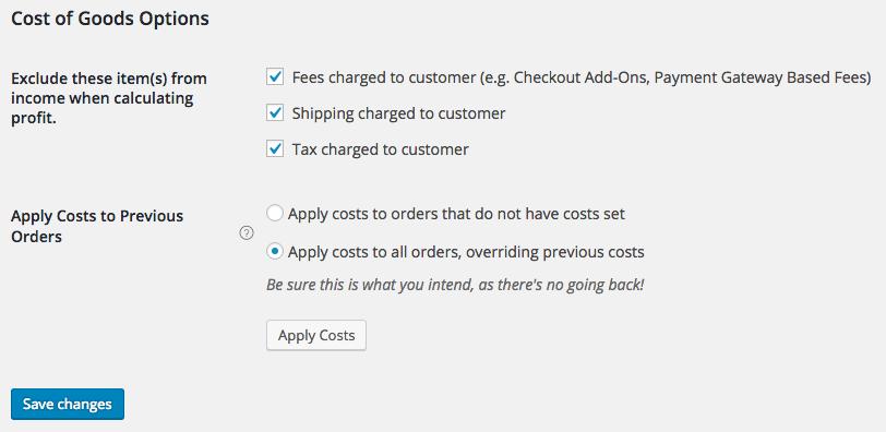 WooCommerce Cost of Goods settings