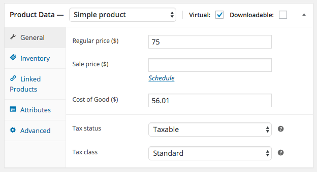 WooCommerce Cost of Goods: Simple Product Cost Configuration