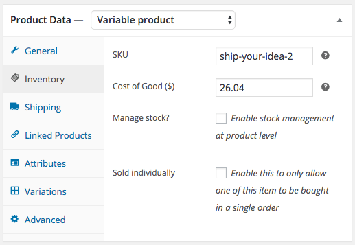 WooCommerce Cost of Goods: Variable Product Cost Configuration