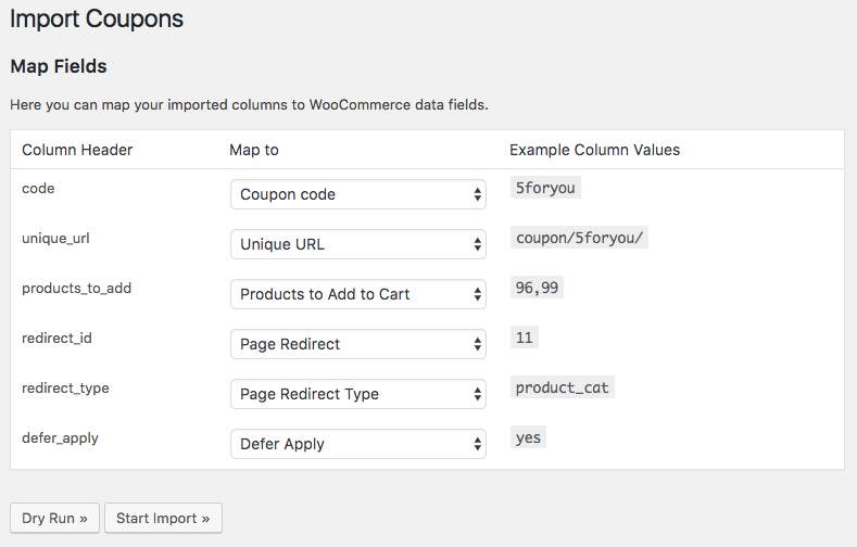 WooCommerce URL Coupons: Map CSV Import Columns
