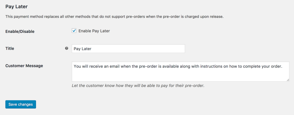 WooCommerce Pay Later payment gateway settings