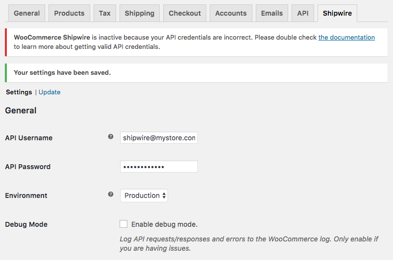 WooCommerce Shipwire: API Credentials incorrect