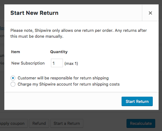 WooCommerce Shipwire: process return