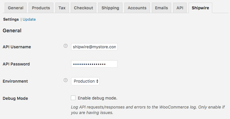 WooCommerce Shipwire: general settings
