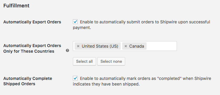 WooCommerce Shipwire: Fulfillment settings