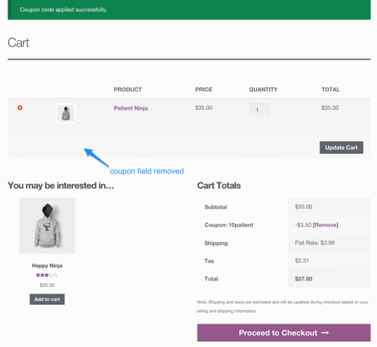 WooCommerce URL Coupons Field Hidden