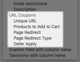 WooCommerce URL Coupons: CSV Import column options