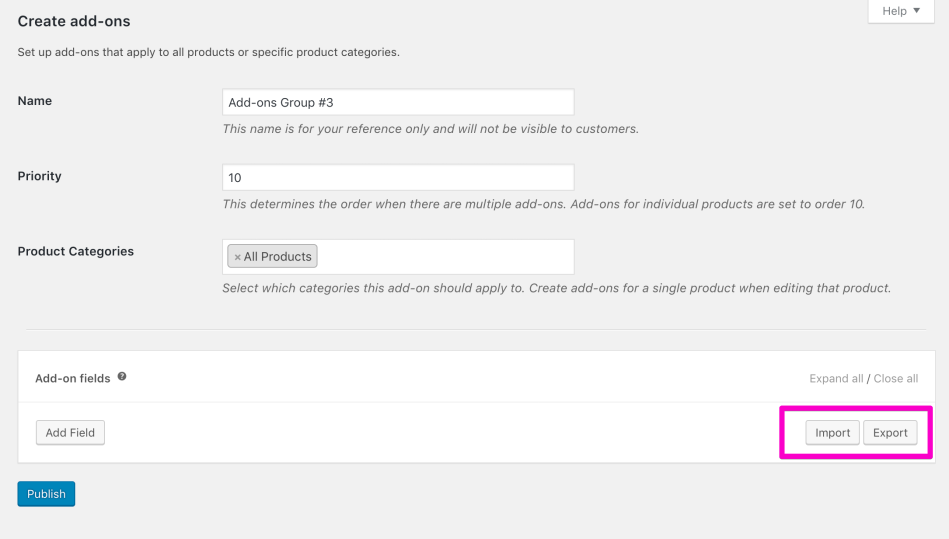 how to add addons to woocommerce products