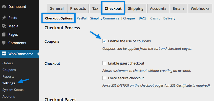 Enabling Coupons in WooCommerce
