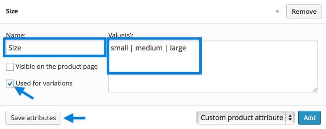 Configurando Atributos Personalizados para Variações