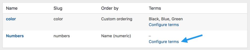 attributes configure terms