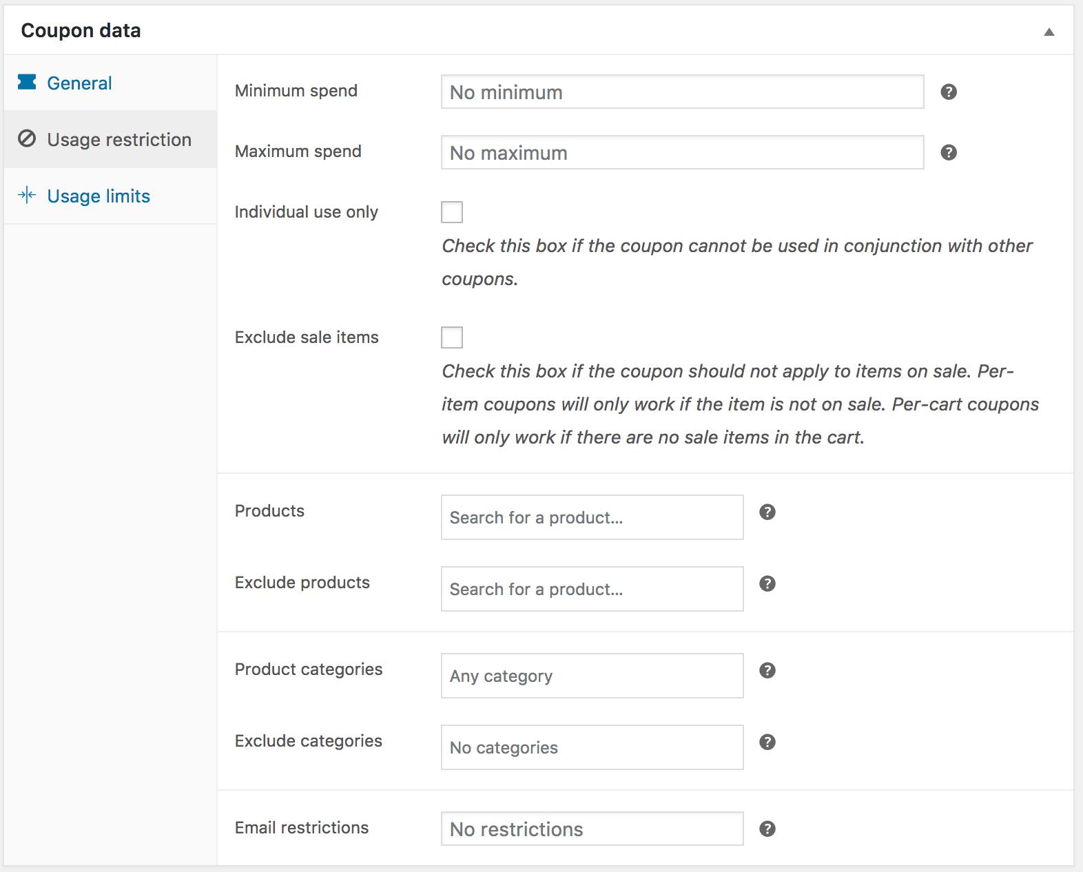 Coupon management woocommerce docs usage restriction back to top buycottarizona Choice Image