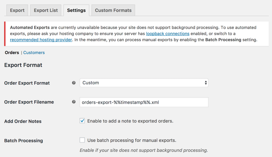 WooCommerce Customer / Order XML Export: batch processing required notice