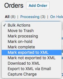 WooCommerce Customer / Order XML Export bulk order actions