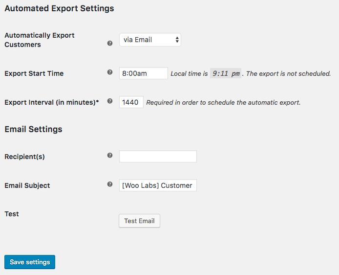 WooCommerce Customer / order XML Export: email customer auto export settings