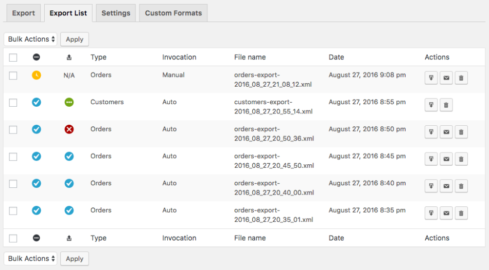 WooCommerce Customer / Order XML Export - exports list