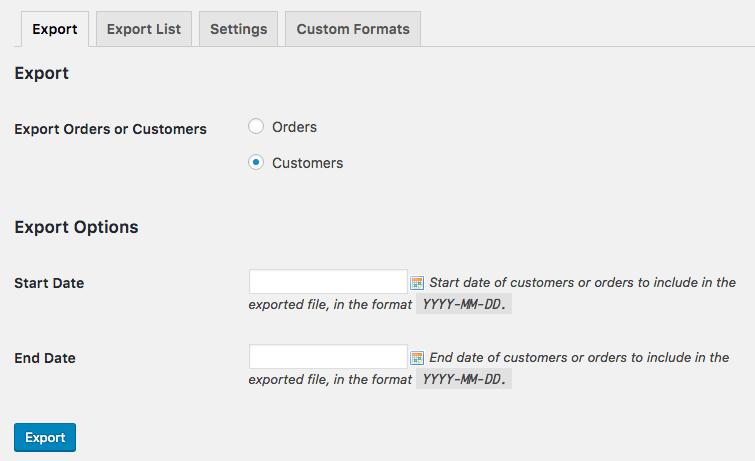 WooCommerce Customer / order XML Export suite: manual customer export