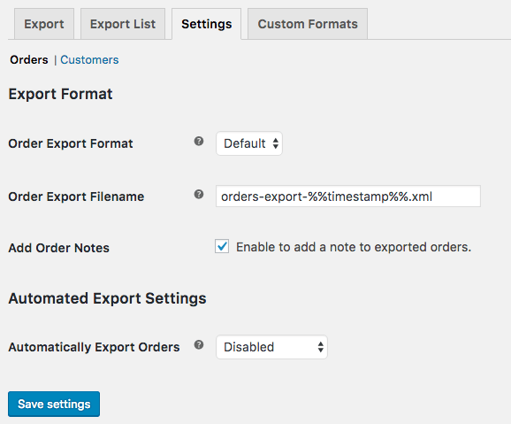 WooCommerce Customer / Order XML Export: Order Export Settings
