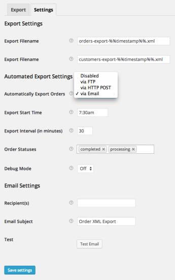 WooCommerce Customer / Order XML Export Settings
