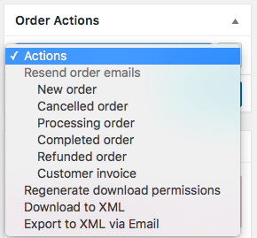 WooCommerce Customer / Order XML Export; single order action