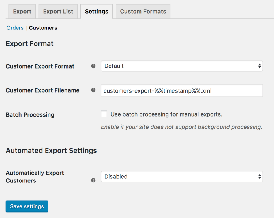WooCommerce Customer / Order XML Export: Customer export settings
