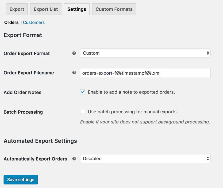 WooCommerce Customer / Order XML Export: Order export settings